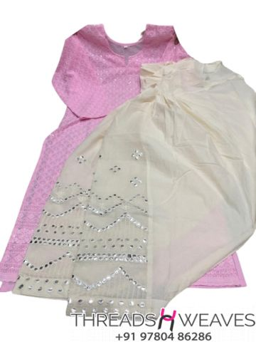 Pink and White Chikankari kurti with mirror and zari work salwar