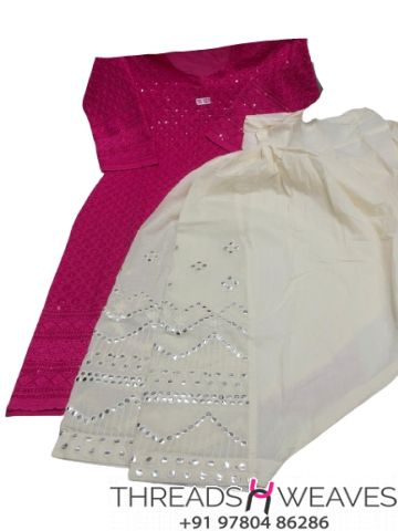 Hot pink and White Chikankari kurti with mirror and zari work salwar