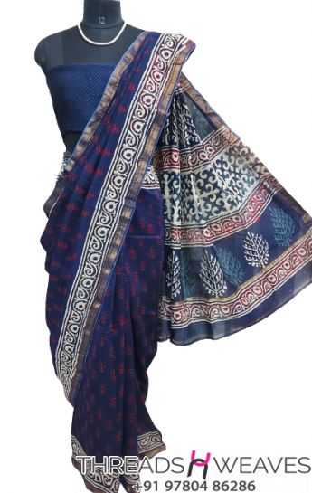 Royal Blue Maheshwari silk saree