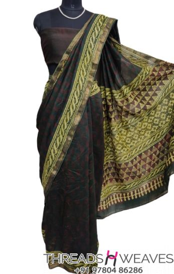 Black Maheshwari silk saree