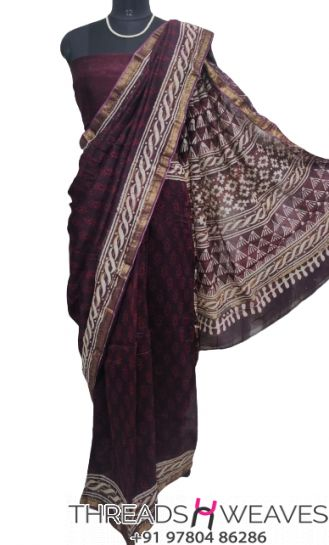 Wine Maheshwari silk saree
