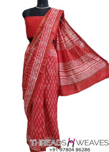 Red Maheshwari silk saree