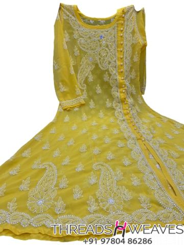 Mustard Gorgette angarkha with side button