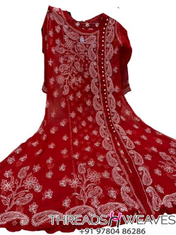 Cherry Red Gorgette angarkha with side button