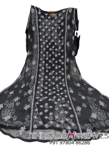 Black Gorgette angarkha with side button