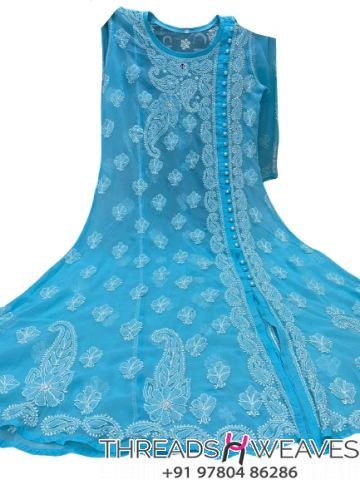Sky blue Gorgette angarkha with side button