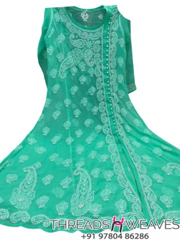 Sea green Gorgette angarkha with side button