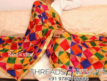 Multi colored phulkari dupatta
