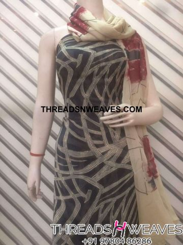 cotton suit black with chiffon dupatta