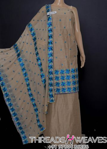 Beige and blue phulkari cotton suit