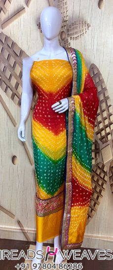 multicoloured Soft fine bhandej silk top wid embroidery border
