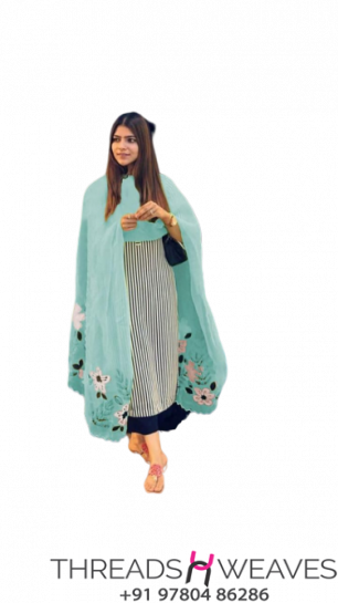 Stylish suit with organza hand painted dupatta