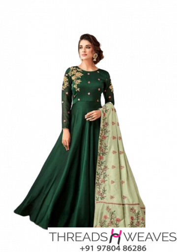 Satin Georgette suit With Embroidery