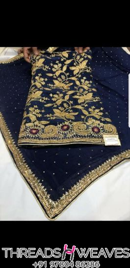 Royal blue and Golden chinnon salwaar suit