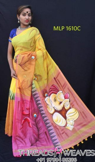 Hand painted khadi saree
