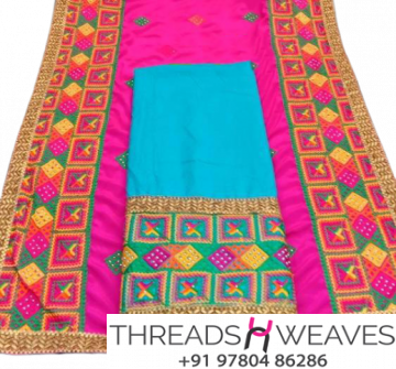 Phulkari Suit with contrast Dupatta